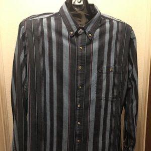 John Henry Mens Size XLT Denim Button Down Shirt